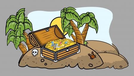 island cartoon: Pirate Treasure Box on an Island - Cartoon Vector Illustration