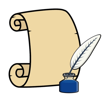 Parchment with Quill and Inkstand - Cartoon Vector Illustration Vector