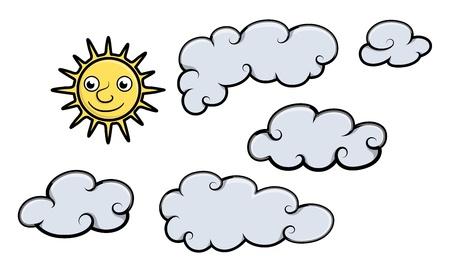 Sole e nuvole - Cartoon illustrazione vettoriale
