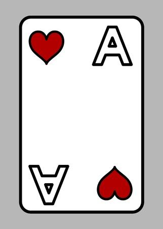 Heart Ace - Cartoon Vector Illustration Vector