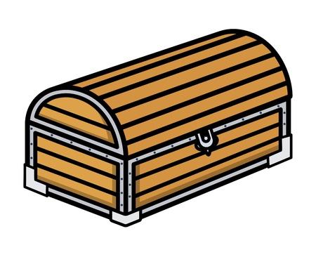 Ancient Treasure Wooden Trunk - Cartoon Vector Illustration Vector