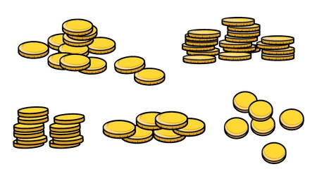 coins stack: Gold Coins Stack - Cartoon Vector Illustration