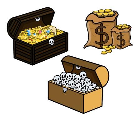 treasure box: Treasure and Skull Filled Trunks and Bag of Coins - Cartoon Vector Illustration