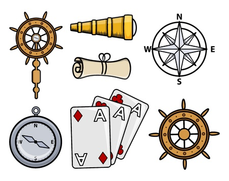 Ancient Ship Icons - Cartoon Vector Illustration Vector