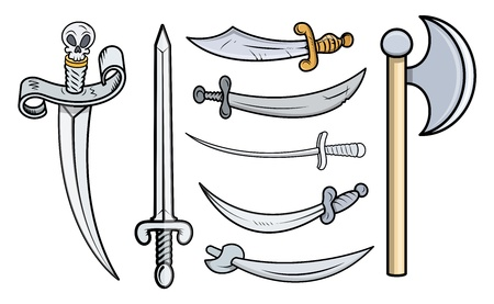 Swords and Weapons - Cartoon Vector Illustration Vector