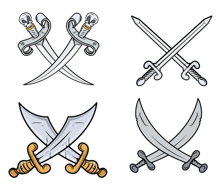 Crossed Swords Set - Cartoon Vector Illustration Vector