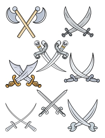 crossed swords: Crossed Swords - Cartoon ilustraci�n vectorial Vectores
