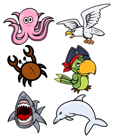 Various Sea Creatures - Cartoon Vector Illustration Vector