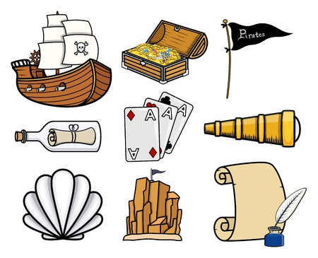 carious: Carious Pirates Story Icons - Cartoon Vector Illustration