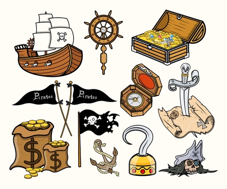 Pirates and Stuff - Cartoon Vector Illustration Illustration