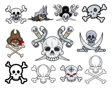 skull character: Set of Vector Skulls Illustrations