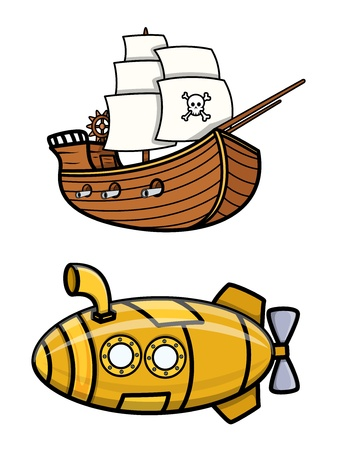 cruise missile: Old Pirate Ship and Submarine - Cartoon Vector Illustration
