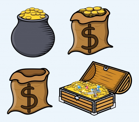 Treasure Boxes and Bags - Cartoon Vector Illustration Vector