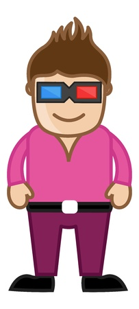 stylish man: Stylish Man with 3d Glasses - Office Corporate Cartoon People Illustration