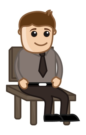 Man Sitting on a Chair - Office Corporate Cartoon People Vector