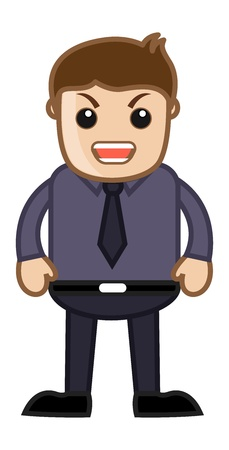 Angry Man - Office Corporate Cartoon People Vector