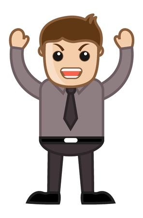 anger kid: Infastidito Boss - Ufficio Corporate Cartoon People Vettoriali