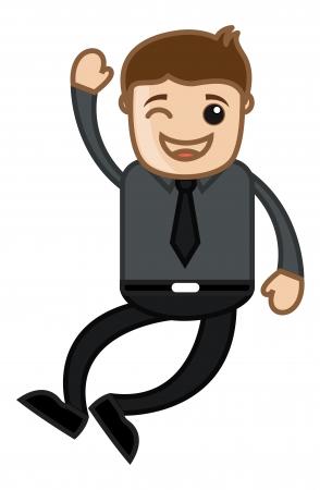 Joyful Man - Office Corporate Cartoon People