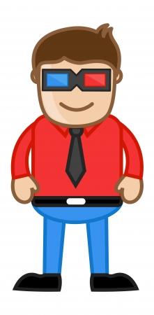 Man Wearing 3d Glasses - Office Corporate Cartoon People Stock Vector - 21879405