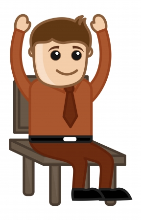 Raising Hands in Seminar - Office Corporate Cartoon People Vector