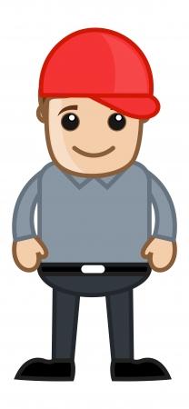 Cute Young Modern Boy - Office Corporate Cartoon People Vector