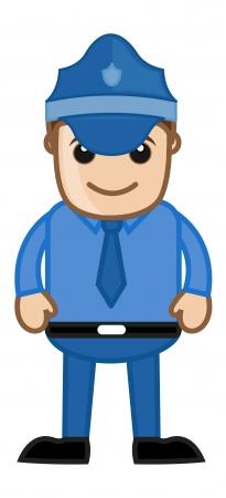 security guard man: Police Officer - Cartoon Serviceman
