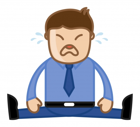 Man Crying - Deadlines Concept - Office Corporate Cartoon People Vector