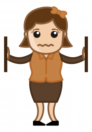 Unhappy Office Woman - Office Corporate Cartoon People