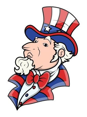 i want you: Fat Uncle Sam - 4th of July Vector Illustration Illustration
