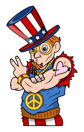 Stylish Uncle Sam - Peace   Victory - 4th of July Vector Illustration