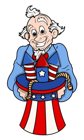 sam: Celebration - Uncle Sam Cartoon Vector Illustration