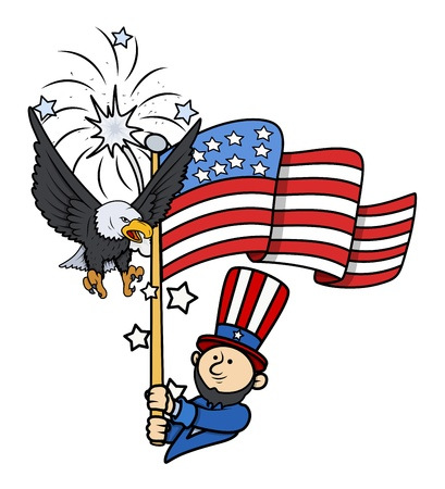 Independence Day - 4th of July Cartoon Vector Illustration Vector