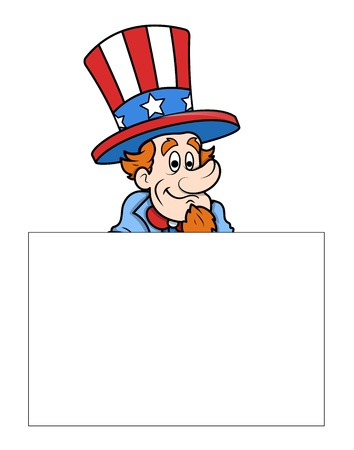 sam: Uncle Sam with Banner - Independence Day Message Vector