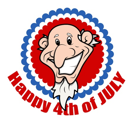 Very Funny Bald Uncle Sam - 4th of July Vector Illustration
