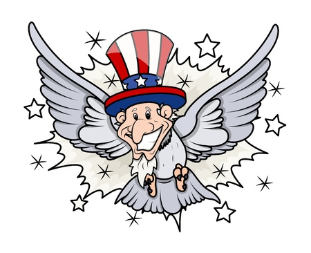 uncle sam: Uncle Sam as a bird - 4th of July Vector