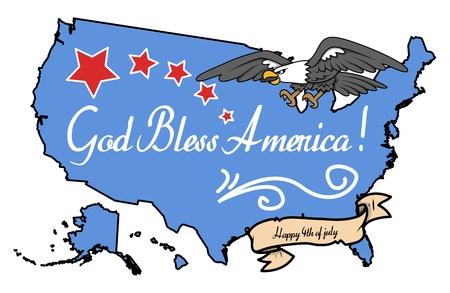god bless: God Bless America - 4th of July Vector