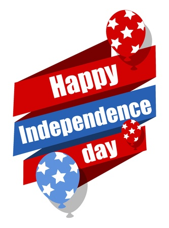Happy Independence Day celebration banner with balloons Vector
