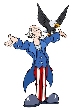 sam: Uncle Sam with eagle - vector illustration