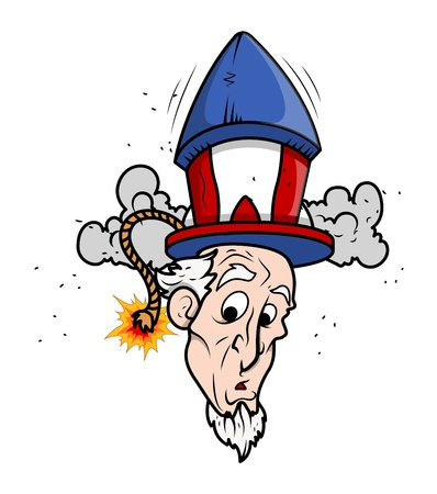 Uncle Sam Funny cartoon Portrait with fireworks Vector