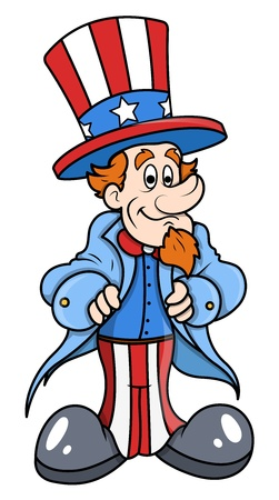 Cute and Happy Uncle Sam Cartoon Vector Illustration