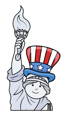 Statue of Liberty celebrating 4th of July Vector