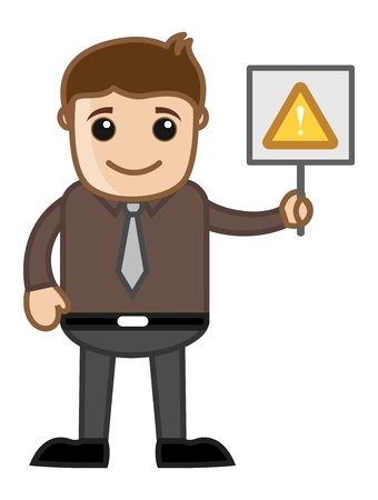 Cartoon Business Character - Man Standing with Alert Sign Stock Vector - 21983750