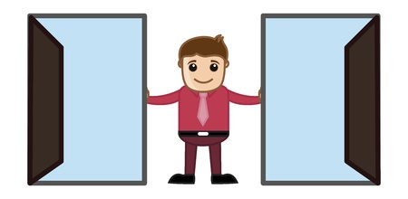 Two Open Doors - Which to Choose Concept Cartoon Business Character Stock Vector - 21983759