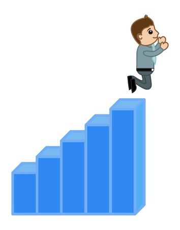 Man Jumped Over the Stats Bar - Profit and Success Concept Vector Vector