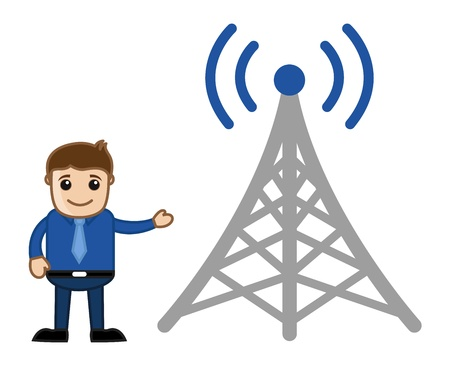 wireless tower: Man Standing with Mobile Wireless Tower - Business Cartoon