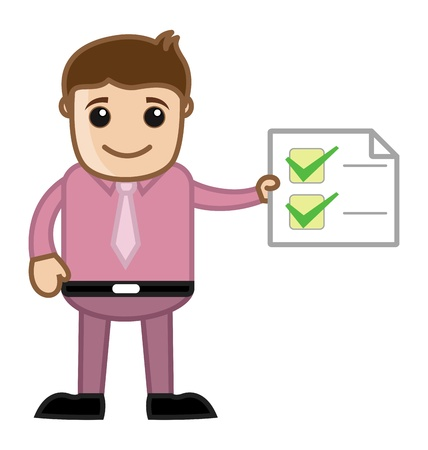 Work Done - Man Holding a Checklist - Business Cartoon Vector