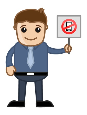 Cartoon Business Character - No Mobile Phone Allowed Vector
