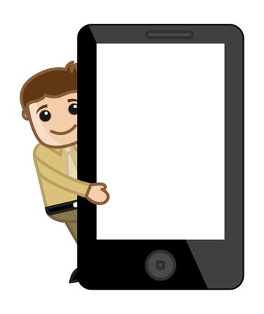 diaporama: Man Diaporama Pr�senter le comprim� de t�l�phone Mobile Device - Cartoon d'affaires