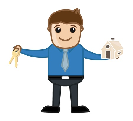 Home Loan - Real Estate Concept - Business Cartoon Illustration