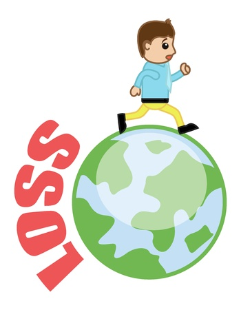 Running Out of Loss - Business Cartoon Vector